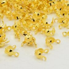 100x Iron End Gold Plated Open Bead Tips Clamshells Calottes Jewellery Making