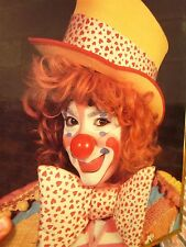 FEMALE CLOWN wall hanging 1980s mime poster Redhead slapstick make-up w/ hat
