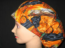 Surgical Scrub Hats/Caps Halloween spooky coffins  Haunted Haouse  Orange