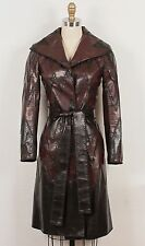 J. Mendel Black & Dark Brown Chevron Zig-Zag Leather Belted Coat Jacket XS 0/2/4