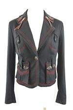 Simon Chang Military Navy Red Zipper Collar Stretch Jacket 2 Small XS $396 BNWT