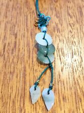 Natural Stone Jade Good Luck Charm Key Chain Coin 11mm with length 110mm