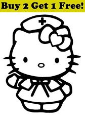 Hello Kitty Nurse Decal Sticker Car Bumper Window Wall Cute Cat Medical RN LPN
