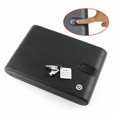 Biometric Fingerprint Safe Box Portable Gun Security Case Pistol Lock Keys Strap