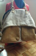 Jesslyn Blake large weekend tan leather  canvas large bag tote luggage carry all