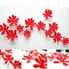 12Pcs 3D DIY Flower Removable Wall Vinyl Decal Art Home Decor Wall Stickers Hot