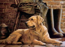 Nigel Hemming PATIENCE Golden Retriever Goldies Gun Dogs Wellington Boots Print