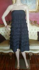 """Gap Silk/Cotton Blend Tiered Ruffle Dress Strapless 32"""" Long Dark Navy Sz 6"""