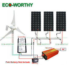 800W Hybrid Kit: 400W Wind Turbine Generator & 3x160W Solar Panel 1kW Inverter
