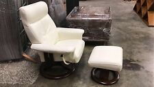 Bay Leather My Time Occasional Chair & Footstool in Snow White orp $1799