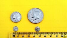 Mini miniature coin set (6) Nickel and (6) half dollar smallest coin gift magic