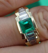 1.50ct Emerald 1.34ct G/VS emerald baguette diamonds 18k YG ring
