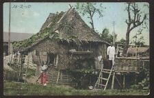 Postcard MANILA PHILIPPINES  Native Family Thatch Roof House/Home view 1910's