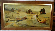 Murphy Art Collection Boats Patti Oil Painting on Wood Vintage 19th Century?