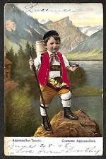 APPENZELLER TRACHT LUZERN SWITZERLAND TO USA TOBACCO SILK NOVELTY POSTCARD 1908
