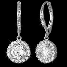 3.5ct Dangle Leverback Micro Pave HALO Signity CZ Cubic Zirconia Drop Earrings