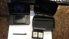 Nintendo DS Lite Cobalt Blue and Black Handheld Console System BUNDLE GAMES CASE