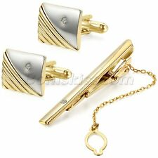 Polished Gold Tone Metal CZ Cufflinks Tie Bar Clasp Clip Set Men's Modish Gift