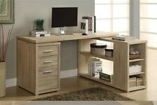 Corner L-Shaped Computer Desk Workstation Natural Finish Reclaimed Look Drawers