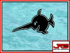 Laughing Saw Fish Vinyl Sticker in Black D1