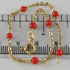 18K YELLOW GOLD GIRL BRACELET 6.70 INCHES WITH CORAL BALLS SPHERE MADE IN ITALY