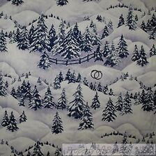 BonEful Fabric Cotton Quilt Scenic Winter Pine Tree Forest Xmas Snowflake SCRAP