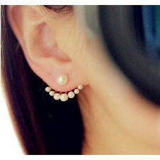 1 pair Women Palm Shaped Ear Studs Gorgeous Pearl Earrings Jewelry