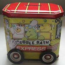 Ansehl Bubble Bath Express Tin Bank Bears on 4 Wheeled Bus Made in England