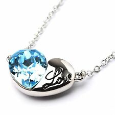 Austrian Blue Crystal Pendant Heart Chain  Necklace Rhodium Plated From UK Shop