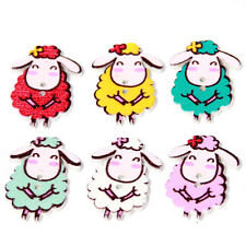 50pcs Hot Selling Mixed Color Lovely Cartoon Sheep Animal Wooden Sewing Button C