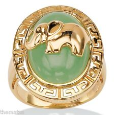 STERLING SILVER GOLD FINISH ELEPHANT GREEN JADE RING 6 7 8 9 10 FREE SHIPPING