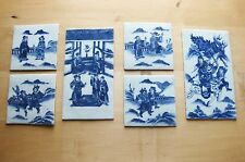 ANTIQUE CHINESE PORCELAIN TILES - set of 6 - hand-painted - very thin
