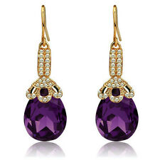 Vintage Long Luxury Teardrop Gold & Dark Purple Drop Earrings E690