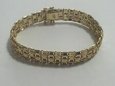 QVC ATASAY AK 14K YELLOW GOLD TEXTURED PANEL BRACELET W/ SAFETY CLASP - 12.93g