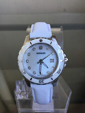 NIB WENGER Sports Elegance White MOP Leather Ladies Watch SRP $275 etm