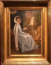 Fine 19thC English Oil Painting Portrait of Lady Emma Hamilton at Spinning Wheel
