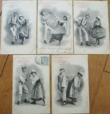 FIVE 1905 Bergeret French Fantasy Postcards-Couple Dancing-La Fricassee-Normandy