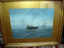 Huge Clarence Braley Nautical Painting / Pastel of Boats in Open Water