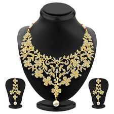 Sukkhi Bewitching Gold Plated AD Necklace Set For Women(3128NADS1300)