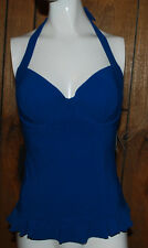Profile Gottex Womens Swimsuit Tankini Top Blue Padded Underwire Ties Neck 34 D