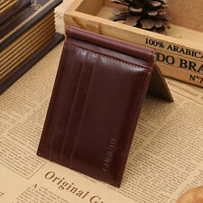 Men's Genuine Leather ID/Credit Card Case Pocket Slim Mini Wallet Holder Coffee