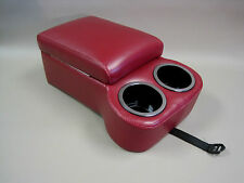 Dark Red Bench Seat Console With Flip Up Armrest and Cup Holders