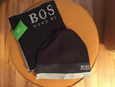 NWT HUGO BOSS  MEN'S  KNIT SET  BLACK/GRAY  LONG  SCARF , BEANIE  HAT ONE SIZE