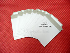 "16 WHITE RIGID STAY FLAT 6""x 6"" CD/DVD SELF-SEALING CARDBOARD MAILING ENVELOPES"