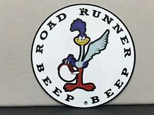 Roadrunner gasoline  beep beep  vintage advertising sign garage man cave round