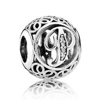 New Authentic Pandora Charm 791860CZ Vintage Letter P Clear CZ Box Included