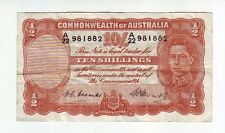 Ten Shillings Paper Banknote Commonwealth Australia Coombs Watt Rare Error note
