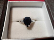 Blue Sapphire and White Zircon Ring in 925 Sterling Silver - Size 7