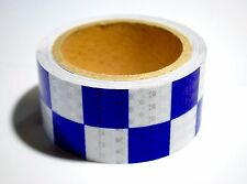 HI VIZ INTENSITY BLUE AND WHITE CHEQUER CHECKERED REFLECTIVE TAPE 50MM X 1M