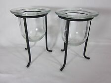 Partylite Set of 2 Black Holders with Glass Cups for Tealights or Votives